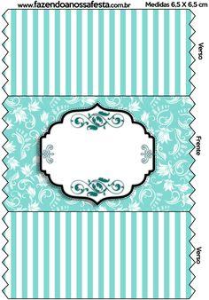 Bala Personalizada Azul Tiffany Floral e Listras: