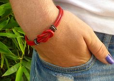 Infinity Knot Celtic Bracelet Red Leather by siriousdesign on Etsy