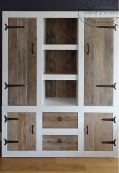 Pallet closet for mudroom - appropriate selection of hardware and great workmanship