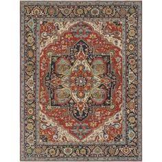 Aria Heriz Nasira Rust/Blue Rug (8'11 x 11'9) - Free Shipping Today - Overstock.com - 23521458