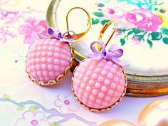 Pink Summer Earrings, Pink Purple Retro Dangle Earrings, Dangle Earrings, Vintage Earrings, Kawaii Earrings, Summer Jewelry, Pink Jewelry by Sweetystuff on Etsy https://www.etsy.com/listing/170006131/pink-summer-earrings-pink-purple-retro