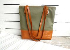 Khaki Waxed Canvas Tote  Leather Bottom / Leather by ottobags, $79.00
