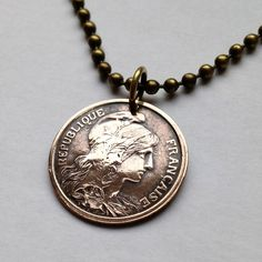 1911 or 1913 France 2 centimes coin pendant necklace jewelry woman cameo profile Lady Liberty Republic French Paris Marianne No.001242 by acnyCOINJEWELRY on Etsy