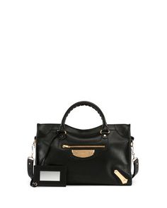 Metal Plate City AJ Satchel Bag, Black by Balenciaga at Neiman Marcus.