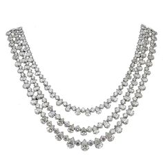 Fascinating Three Row Diamond Platinum Necklace | From a unique collection of vintage drop necklaces at https://www.1stdibs.com/jewelry/necklaces/drop-necklaces/