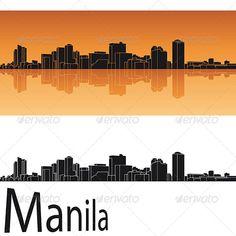 Manila skyline in orange background in editable vector file