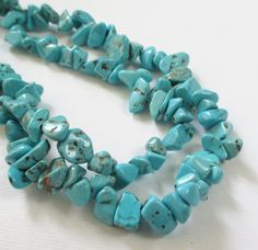 Turquoise Chip Nugget Beads Small Blue Chip Nugget by BijiBijoux