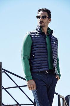 Chervò - Man golf outfit: Gilet EARL, Polo ALVIN 61117 667, Trousers STILOSO 61390 63E and Belt UCOLOR Y8985 599