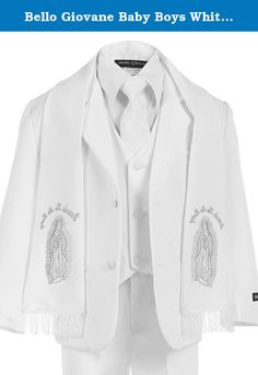 Bello Giovane Baby Boys White Christening Suit Maria Embroidered Scarf 6 Piece (2T, White). This product is sold exclusively by Bello Giovane. Beware of imitation products. High quality white baby boys Baptism Christening suit set. 6 pieces set: shirt, vest, pants, jacket, long-tie and silver Maria Guadalupe embroidered scarf. Available sizes: S to 7. Can be worn as white suit without scarf.