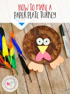 Easy paper plate turkey craft idea for kids that's perfect for a diy Thanksgiving activity for the little ones! No paint required, just markers!