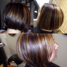 Chin length inverted Bob with great shine and wonderful movement! Chin Length Cuts, Carmel Highlights, Inverted Bob, Hair Beauty, Long Hair Styles, Hairstyle Ideas, Base, Chocolate, Create