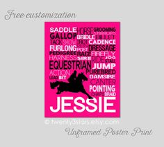 Equestrian Typography Art Print, Room Art, Choose the Colors, Great Gift for any Horse Rider, Horse Riding Jockey Dressage Wall Art Poster by twenty3stars on Etsy