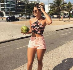 Image via We Heart It #clothes #flowers #girl #shorts #sun