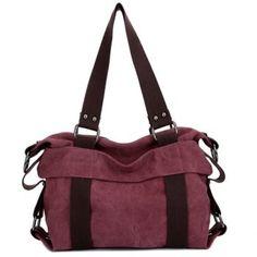 $27.97 Casual Solid Color and Canvas Design Women's Shoulder Bag