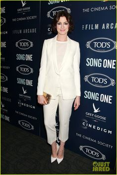 anne hathaway adam shulman suit each other 01 Anne Hathaway is white hot in a suit while attending the premiere of her latest film Song One with husband Adam Shulman held at Landmark's Sunshine Cinema on Tuesday…