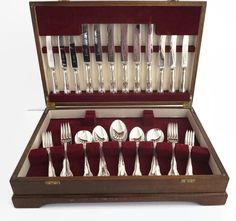 Vintage canteen of silver plated and stainless steel cutlery in wooden presentation box, 38 pieces, Paramount, Sheffield, mid 20th century by CardCurios on Etsy