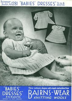 Bairnswear 1281 Vintage Knitting Pattern Babies Dresses for 3 to 6 Months - Three Dress Patterns. $2.00, via Etsy.