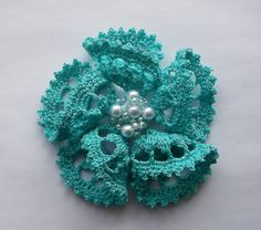 Turquoise crochet brooch turquoise handmade by SuzieSue1972, £7.50