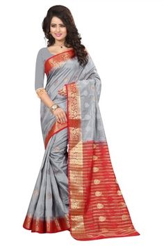 grey printed art silk saree with blouse - FASHION - 1569390 Art Silk Sarees, Sari, India, Grey, Blouse, Prints, Beautiful, Design, Fashion