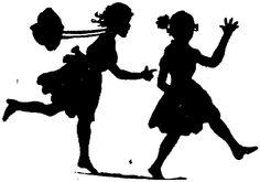 silhouette children girls running bonnet