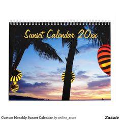 Custom Monthly Sunset Calendar