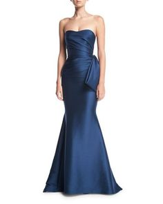 Badgley Mischka Collection Strapless Sweetheart Mikado Satin Evening Gown w/ Bow Detail Designer Evening Gowns, Designer Wedding Dresses, Evening Dresses, Prom Dresses, Long Dresses, Blue Dresses, Formal Gowns, Strapless Dress Formal, Formal Wear