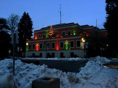 Poco city Hall At Christmas time Tri Cities, Christmas Time, Mansions, House Styles, City, Outdoor, Mansion Houses, Outdoors, Manor Houses