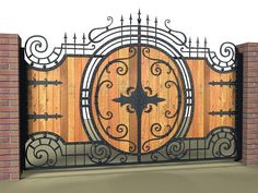 Wood & wrought iron gate. Russia.