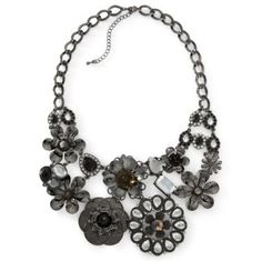 Black Crystal Flower Bib Necklace  found at @JCPenney