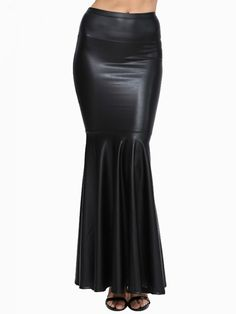 Fascinating Leather Mermaid Maxi #skirt
