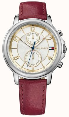 Tommy Hilfiger 1781816 - In stock. The Womens Claudia Wine Leather Watch  has an elegant 26433a9e705