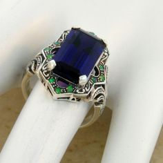 PURPLE-LAB-AMETHYST-OPAL-ANTIQUE-VICTORIAN-STYLE-925-STERLING-SILVER-RING-463