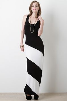Look elegant in the Cocos Maxi Dress! Featuring soft stretch knit, contrast color stripe design, round neckline, racer back, sleeveless, and asymmetrical hem.