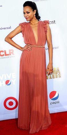 Pleated plunge gown #Zoe Saldana