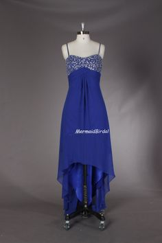 Royal blue High low prom dress with removeable Spaghetti Straps, A-line prom gown, party dresses