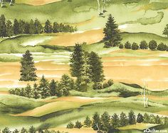 """NCFWOOLF  Woodland Warmth - Watercolor Hills - Latte - 42"""" FLANNEL"""