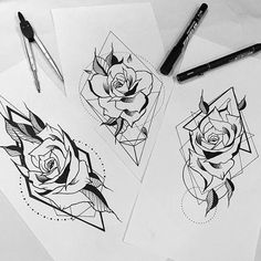Blackwork Rose Designs From @otheser_stc ! Rose Day today! First comes first served! #saketattoocrew