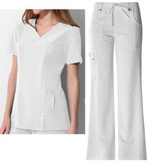 TOP / 82851  . Fit V-Neck Top Style# 82851. PANT / 82011. Fit Mid-Rise Drawstring Cargo Pant Style # 82011. DICKIES Xtreme Stretch WHITE - DWHZ. 2 PIECE SCRUB. A Junior fit, mid-rise, moderate flare leg pant features an adjustable drawstring with full elastic waist, belt loops with decorative logo eyelet snaps. | eBay!