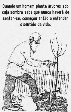 Quando um homem planta árvores sob cuja sombra sabe que nunca haverá de sentar-se, começou então a entender o sentido da vida.
