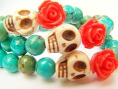 Day of the Dead Bracelet, Dia de Los Muertos Beaded Stretch Bracelet, Turquoise Stone with Sugar Skull & Red Rose, Memento Mori - Mori by polishedtwo   etsy