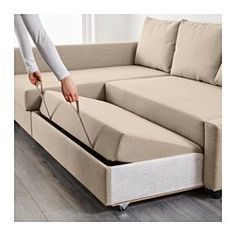 IKEA - FRIHETEN, Sofa bed with chaise. You can place the chaise lounge section to the left or right of the sofa, and switch whenever you like. Storage space under the chaise. The lid stays open so you can safely and easily take things in and out.Easily converts into a bed.Sofa, chaise and double bed in one.