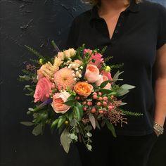 Stunning Bridal bouquet with Peach Juliet roses, Sweet Avalanche&Spray roses, gypsophila, veronica, dahlias, soft ruscus, eucalyptus, hypericum berries.