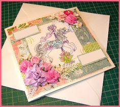 Card for my friends birthday Whimsy Stamps Spring Stepping. Also used, Hero Arts CL106 Fantastic Flourishes. And Graphic 45 Papers from Botanical Tea. And a shed load of flowers & Copics.