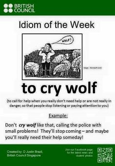 to cry wolf English Vinglish, English Idioms, English Phrases, English Writing, English Lessons, English Grammar, English Vocabulary Words, Learn English Words, English Language Learning