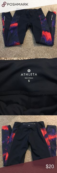 ATHLETA NAVY ORANGE YOGA PANTS LK NEW I have a matching racerback and hoodie. Navy and orange pants. Size small. Athleta Pants Leggings