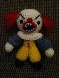 """Penny Wise from the horror movie """"It"""" made him myself as a special little challenge. Took me a week but he turned out just precious!"""