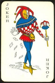 """Leonard Biermans"" (Belgium) standard joker may be used and by ""Carta Mundi"" Joker Playing Card, Joker Card, Playing Cards, Middle Ages, Illustrations Posters, Disney Characters, Fictional Characters, Jokes, Batman"