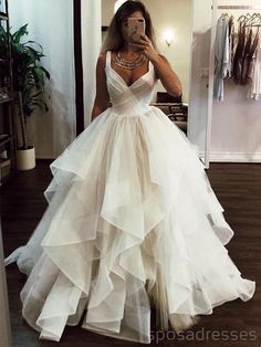 Wedding Dress Ball Gown White v neck tulle long prom dress, white evening dress - White v neck tulle long prom dress, white evening dress, Customized service and Rush order are available Long Wedding Dresses, Elegant Wedding Dress, Formal Evening Dresses, Elegant Dresses, Pretty Dresses, Bridal Dresses, Beautiful Dresses, Wedding White, Modest Wedding