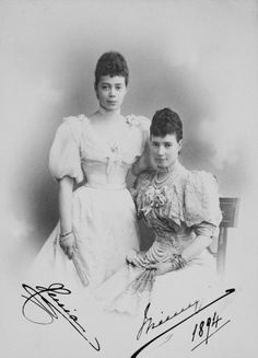 Empress Marie Feodorovna and her daughter Grand Duchess Xenia Alexandrovna c1894 (royal collection UK ) Click on the image to see details of a large version