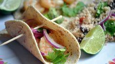 Shrimp Tacos + Black Bean Couscous Salad